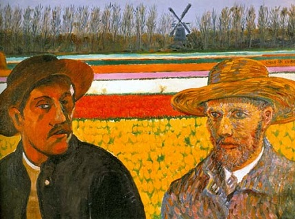 Tsing-fang Chen, Gauguin and Van Gogh. Note the images of the Dutch windmill and the tulip fields in the background, icon homage to Van Gogh's native Holland.