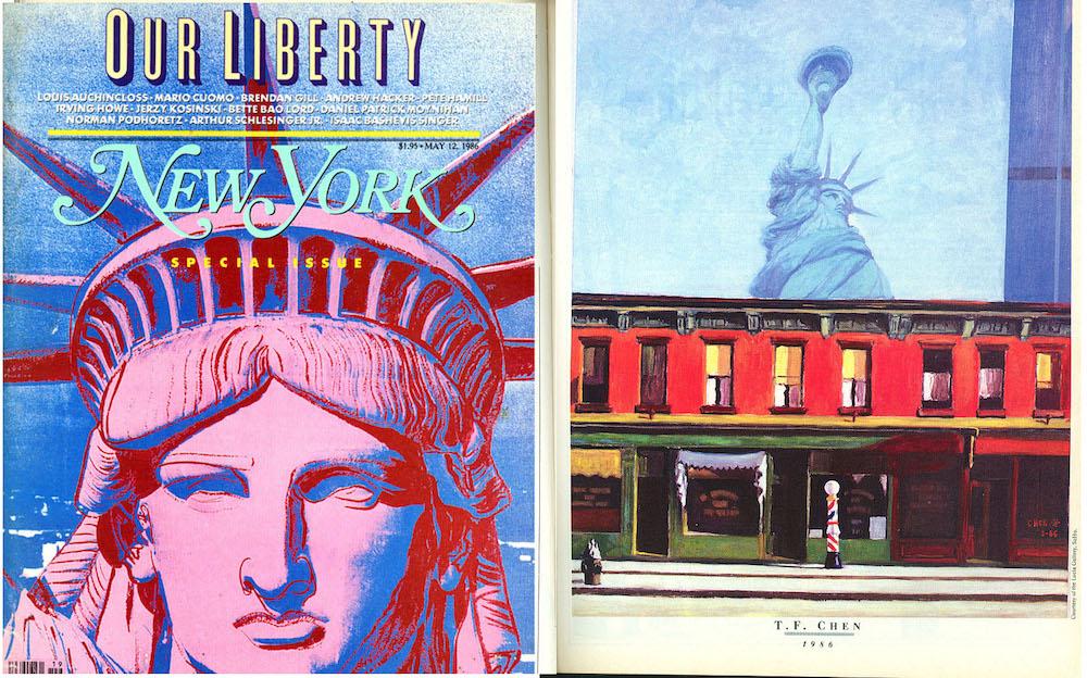 在1986年5月份的紐約雜誌(New York Magazine)裡陳博士的「星期日早晨,自由!」一作與美國當代名畫家,如安迪、沃霍(Andy Warhol)、勞森柏格(Robert Rauschenberg)、力奇登斯坦(Roy Litchenstein)等的作品並列。 陳氏的「自由精神系列」廣被當時的電視、報紙、雜誌及其他傳媒所傳播。