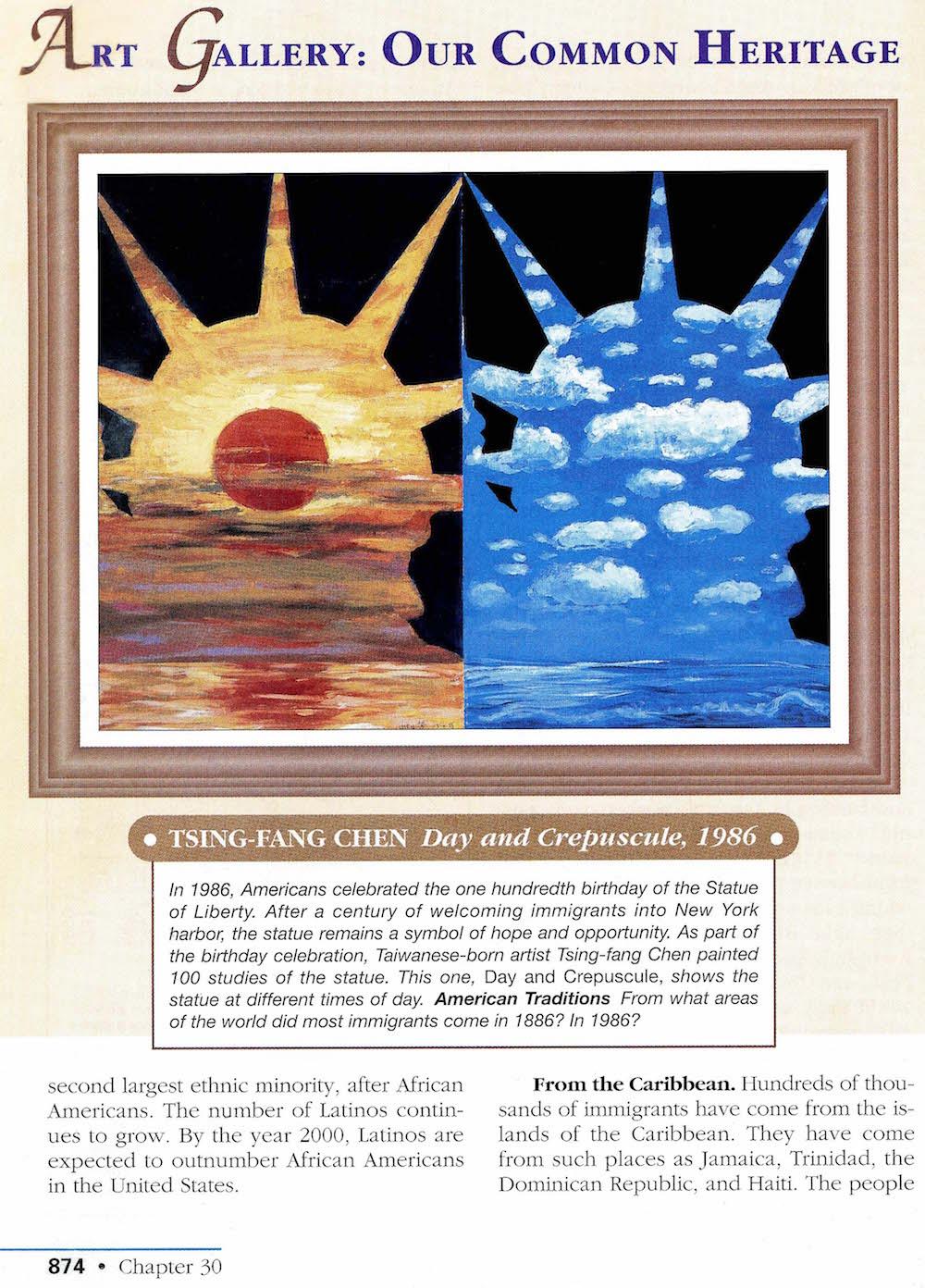 另外也是跨頁彩色在美國歷史的教科書裡的是兩幅陳博士的作品:「晨昏與白天」 及「自由之邦州」(Prentice Hill出版)。